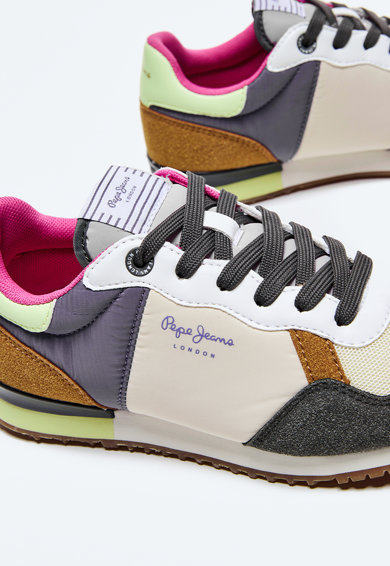Pepe Jeans London Pantofi sport din piele ecologica si piele intoarsa sintetica Femei