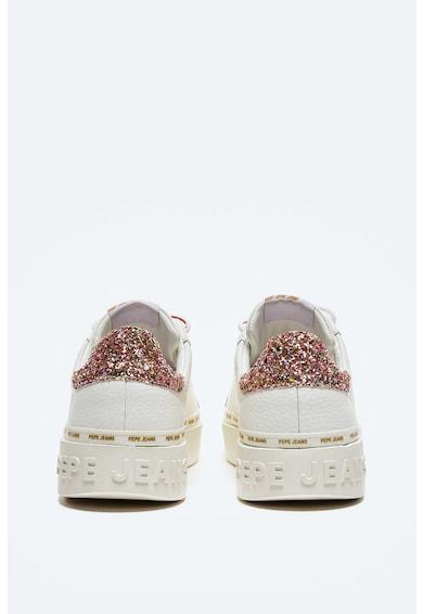 Pepe Jeans London Pantofi sport din piele cu insertii stralucitoare Femei