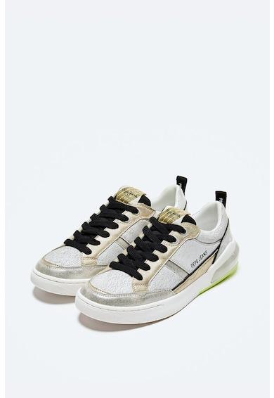 Pepe Jeans London Pantofi sport din piele ecologica cu garnituri metalizate Femei