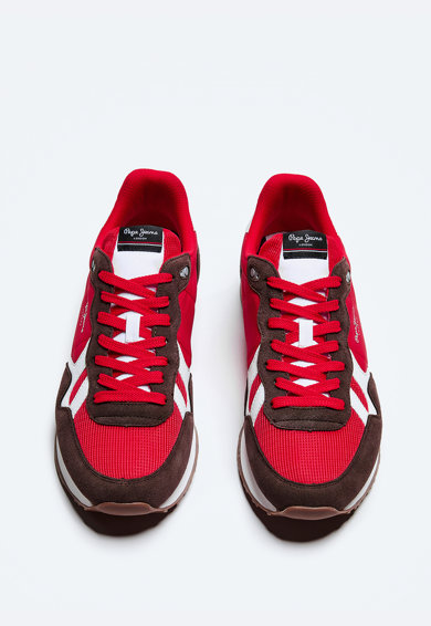 Pepe Jeans London Pantofi sport din material textil cu garnituri din piele intoarsa Barbati