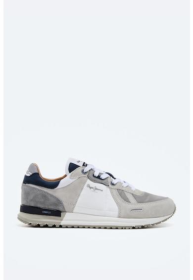 Pepe Jeans London Pantofi sport cu garnituri de piele intoarsa si detaliu logo Barbati