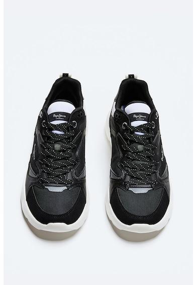 Pepe Jeans London Pantofi sport de piele intoarsa ecologica si material textil Barbati
