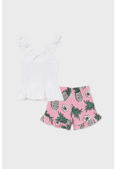 Mayoral Set de pantaloni scurti si top cu imprimeu tropical - 2 piese Fete