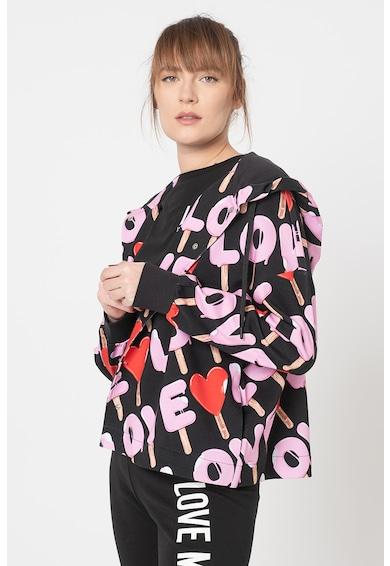 Love Moschino Hanorac cu fermoar si imprimeu grafic Femei