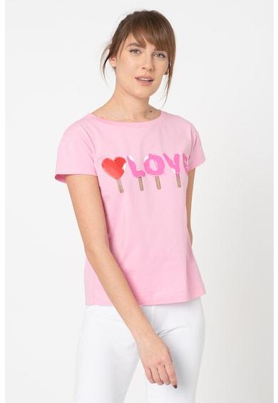 Love Moschino Tricou cu decolteu la baza gatului si imprimeu text contrastant Femei