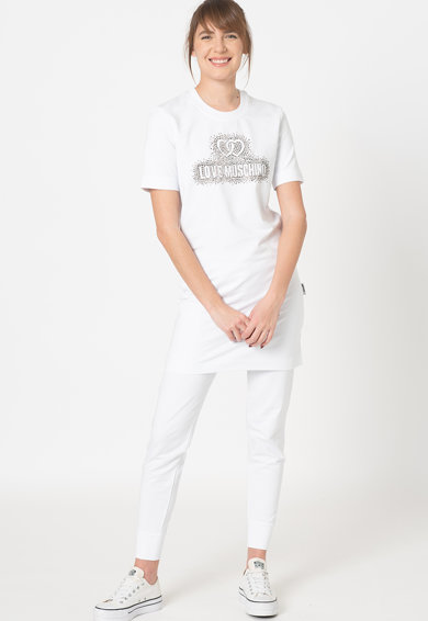 Love Moschino Rochie tip tricou cu logo si strasuri Femei