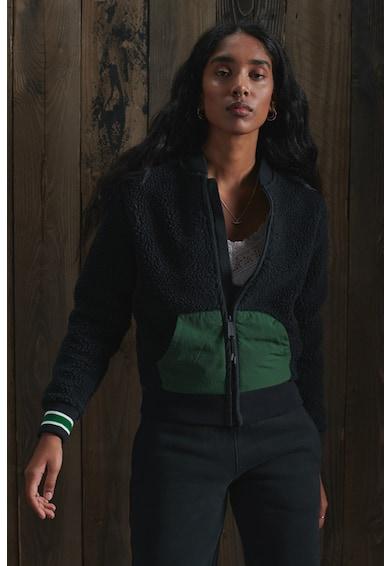 SUPERDRY Jacheta din fleece cu fermoar si detalii contrastante Femei