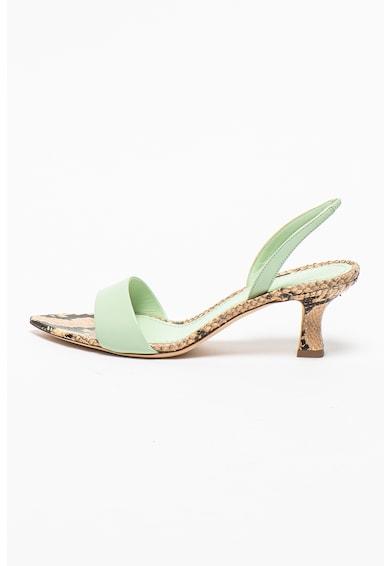 3JUIN Sandale slingback de piele cu detalii cu aspect de piele de sarpe Orchid Femei