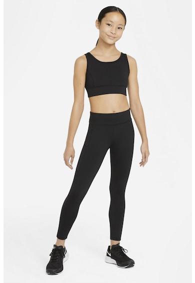 Nike Bustiera cu tehnologie Dri-Fit pentru fitness Swoosh Luxe, Negru/Alb, S Fete
