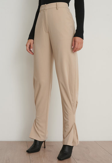 NA-KD Pantaloni cu talie inalta si fronseuri Femei