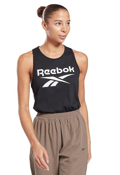 Reebok Top cu imprimeu logo si spate decupat, pentru fitness Identity Femei