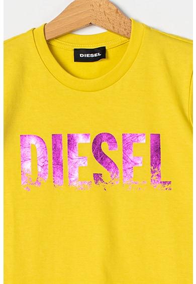 Diesel Tricou cu decolteu la baza gatului si imprimeu logo metalizat Fete