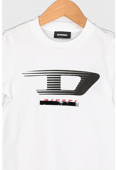 Diesel Tricou cu decolteu la baza gatului si imprimeu logo Baieti