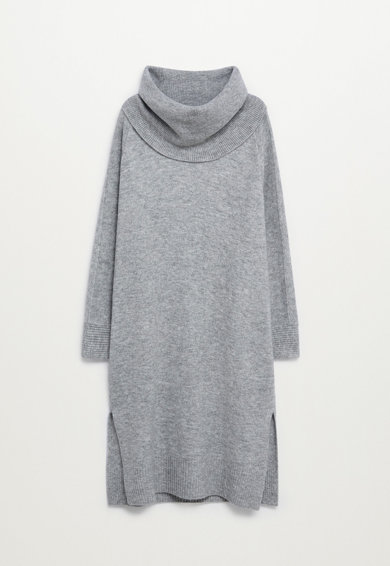 VIOLETA BY MANGO Rochie tip pulover cu guler inalt si slituri laterale Greta Femei