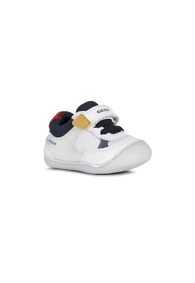 Geox Pantofi sport din piele si piele intoarsa cu inchidere velcro si insertie din plasa Fete