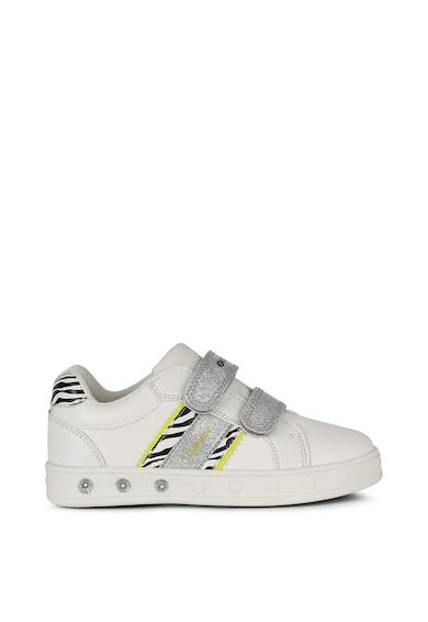 Geox Pantofi sport din piele ecologica cu inchidere velcro Fete