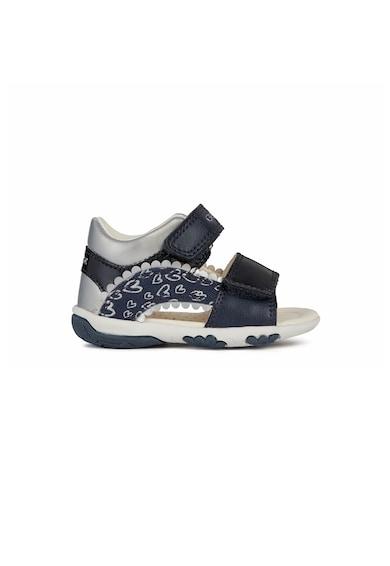 Geox Pantofi sport de piele ecologica cu velcro si garnituri metalizate Fete