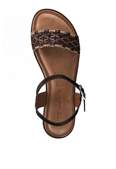 Tamaris Sandale de piele si piele ecologica, cu aspect impletit Femei