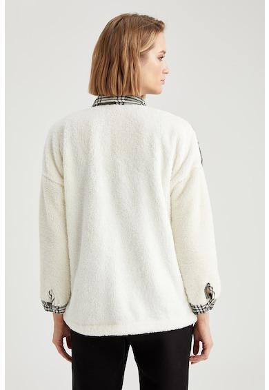 DeFacto Jacheta din fleece cu segmente in carouri Femei