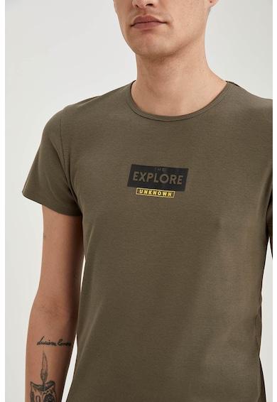 DeFacto Tricou de bumbac cu imprimeu Barbati
