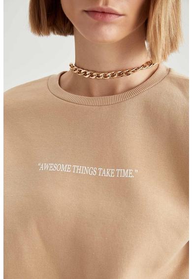 DeFacto Bluza sport cu imprimeu cu mesaj Femei