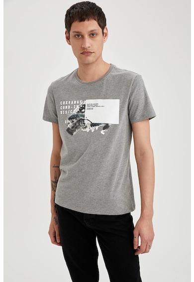 DeFacto Tricou slim fit cu imprimeu grafic Barbati
