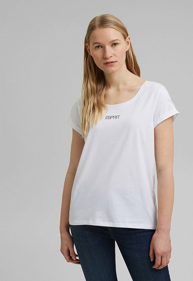 Esprit Tricou de bumbac organic cu imprimeu logo Femei