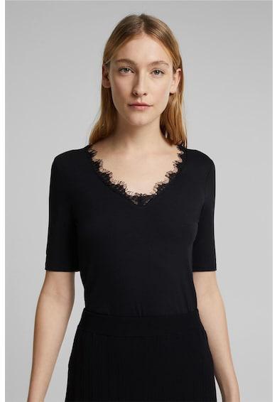 Esprit Tricou din jerseu cu garnituri de dantela Femei
