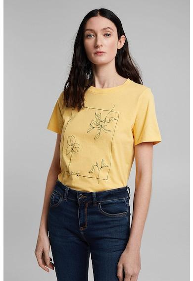 Esprit Tricou de bumbac cu decolteu la baza gatului Femei