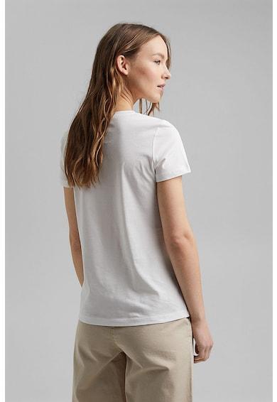 Esprit Tricou de bumbac organic cu imprimeu si decolteu la baza gatului Femei