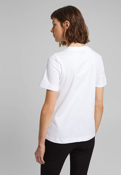Esprit Tricou de bumbac organic cu imprimeu text Femei