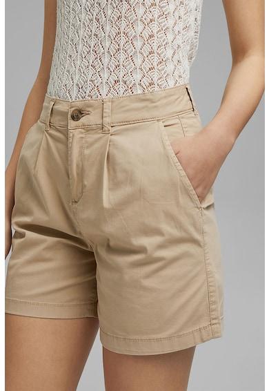 Esprit Pantaloni scurti chino cu talie inalta si pliuri Femei