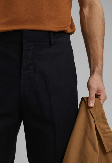 Esprit Pantaloni chino crop din amestec de bumbac si in Barbati