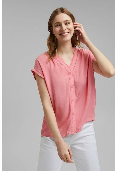 Esprit Bluza texturata cu decolteu in V si perforatii Femei