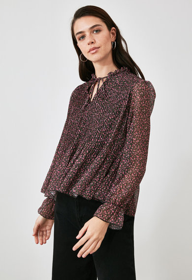 Trendyol Bluza evazata cu pliuri Femei