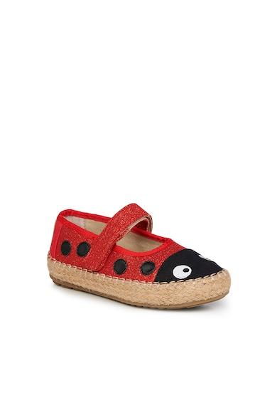 Emu Pantofi loafer cu inchidere velcro si insertii stralucitoare Ladybird Nest, Rosu/Negru, Fete