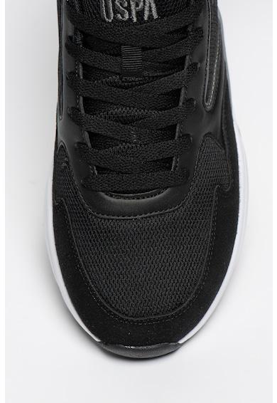 U.S. Polo Assn. Pantofi sport de plasa cu insertii de piele ecologica Aretha Barbati