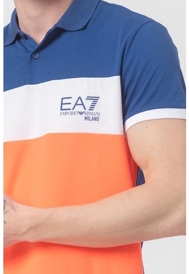 EA7 Tricou polo cu model colorblock Barbati