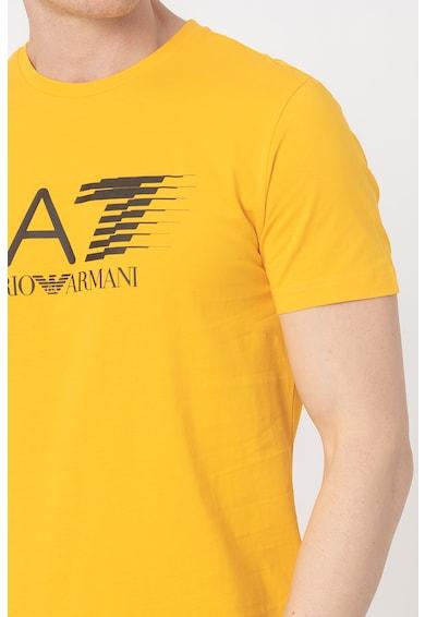 EA7 Tricou cu decolteu la baza gatului si imprimeu logo Barbati