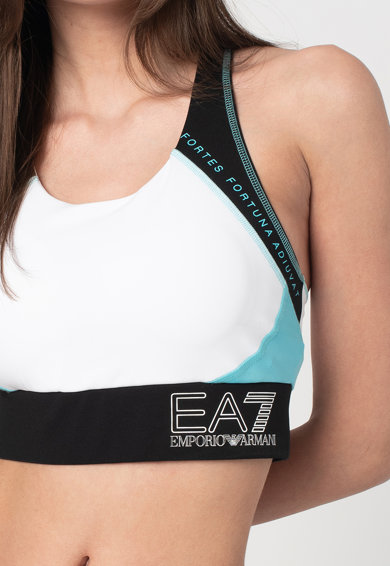 EA7 Bustiera cu decupaj racerback si imprimeu logo Femei