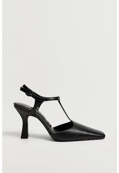 Mango Pantofi de piele cu varf patrat Venus Femei