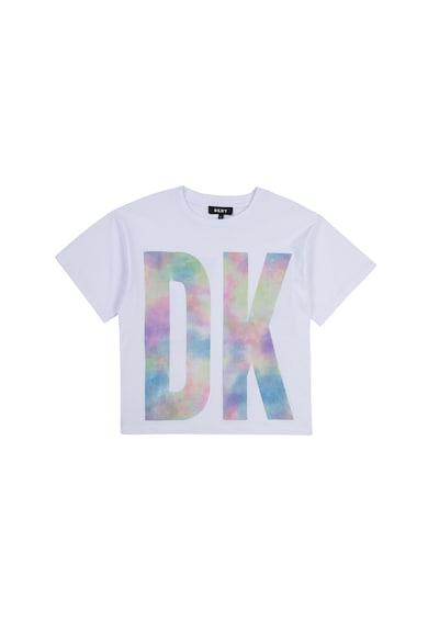 DKNY Tricou cu decolteu la baza gatului si imprimeu logo Fete