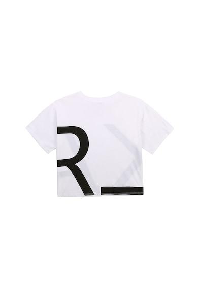 Karl Lagerfeld Tricou cu decolteu la baza gatului si imprimeu logo Fete