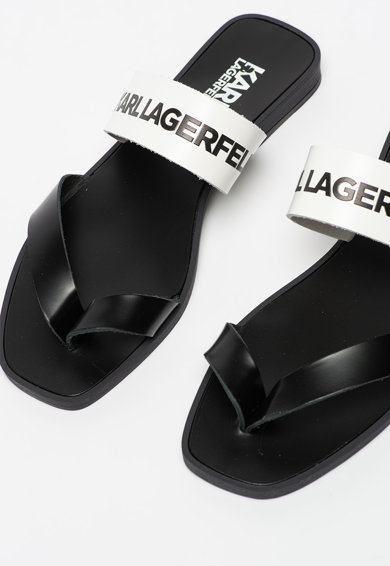 Karl Lagerfeld Papuci de piele cu bareta separatoare si garnitura cu logo Skoot Femei