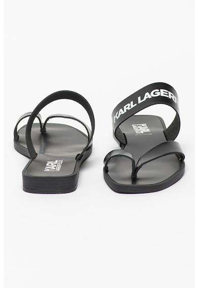 Karl Lagerfeld Papuci de piele cu bareta separatoare si logo Skoot Femei