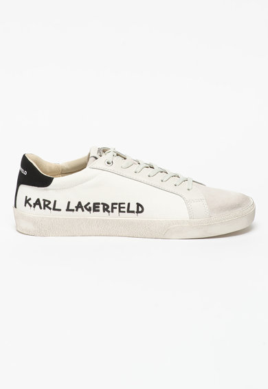 Karl Lagerfeld Pantofi sport de piele si material textil Skool Barbati