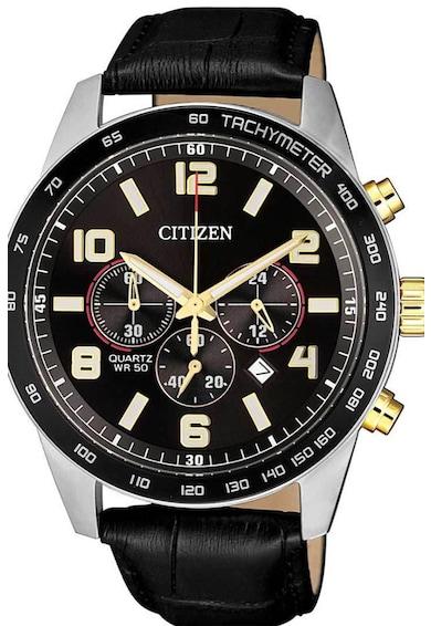 Citizen Ceas cronograf cu o curea din piele Barbati