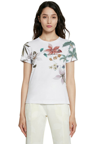DESIGUAL Tricou cu imprimeu tropical si decupaj pe partea din spate Femei