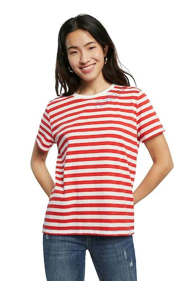 DESIGUAL Tricou cu decolteu la baza gatului si model in dungi Femei