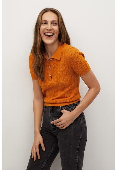 Mango Пуловер Tellon яка и къси ръкави Жени